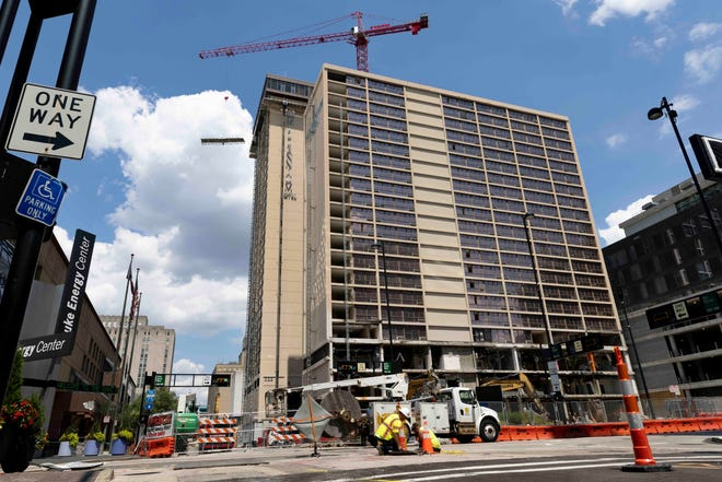 Demolition continues at the Millennium Hotel photographed, Tuesday, Aug. 3, 2021, in downtown Cincinnati.