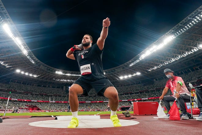 Mostafa Hassan, of Egypt, competes in qualifications for the men's shot put at the 2020 Summer Olympics, Tuesday, Aug. 3, 2021, in Tokyo. (AP Photo/David J. Phillip)