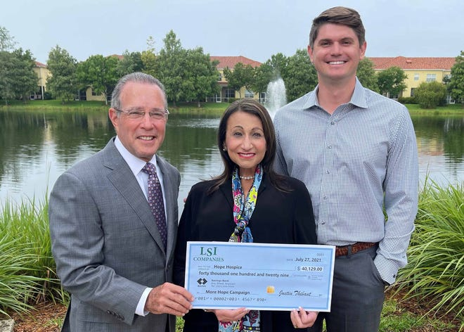 Hope Board Chair Charles Idelson, Hope President & CEO Samira K. Beckwith, LSI Companies President Justin Thibaut (left to right)