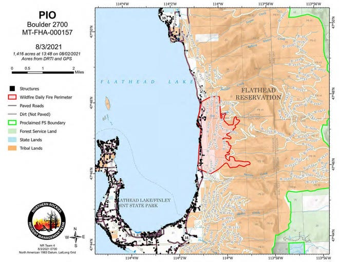 Map showing the extent of the Boulder 2700 Fire along Flathead Lake in Montana
