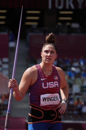 Kara Winger (USA) competes in the women's javelin throw qualification Aug. 3, 2021 inTokyo, Japan, during the Tokyo 2020 Summer Olympic Games at Olympic Stadium. Mandatory Credit: Kirby Lee-USA TODAY Sports.