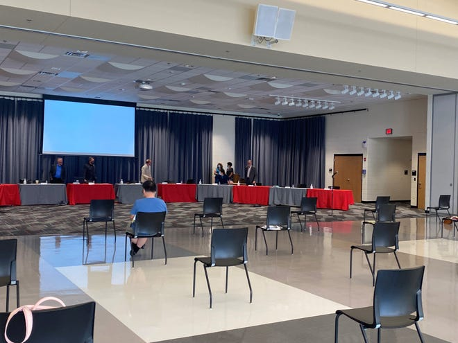 The socially distanced set-up for the Monday, Aug. 3 West Lafayette School Board of Trustees meeting.