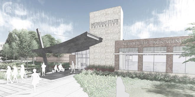 Some of the renovations to the Michigan State University School of Packaging are shown in a rendering.