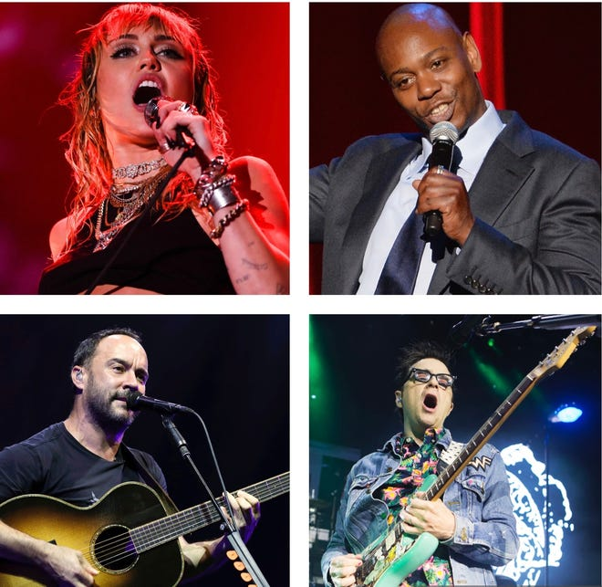 Summerfest 2021 headliners include (from top left) Miley Cyrus, Dave Chappelle, Weezer and Dave Matthews Band.