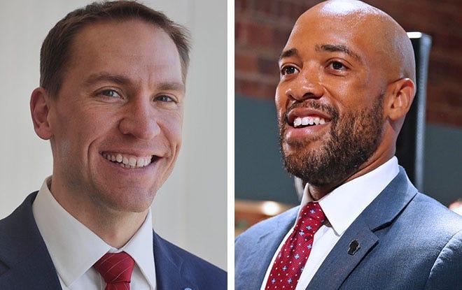 State Sen. Chris Larson, left, and Lt. Gov. Mandela Barnes, right