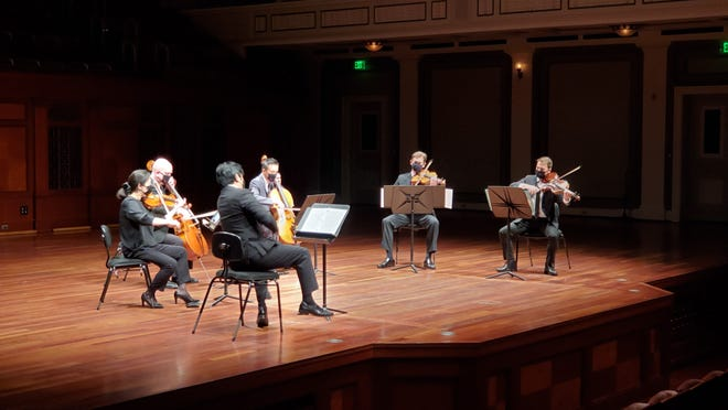 """The Nashville Symphony held several chamber orchestra events during the pandemic with musicians socially distanced. Crowds were at limited capacity, with social distancing and masks. This May 28 performance was Tchaikovsky's String Sextet in D Minor, """"Souvenir de Florence"""" and featured Jun Iwasaki on violin, Jimin Lim on violin, Anthony Parce on viola, Daniel Reinker on viola, Xiao-Fan Zhang on cello and Keith Nicholas on cello."""