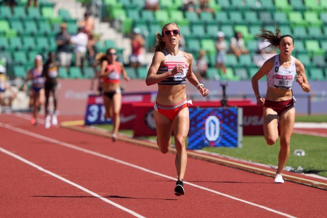 Jun 26, 2021; Eugene, OR, USA; Emily Sisson wins the women's 10,000m in a meet-record 31:03.82 during the US Olympic Team Trials at Hayward Field.
