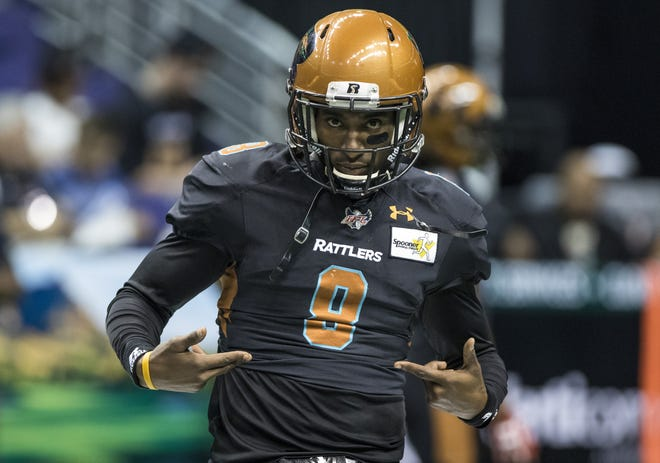Arizona Rattlers Davontae Merriweather (8) strikes a pose before their game against the San Diego Strike Force at Talking Stick Resort Arena in Phoenix, Saturday, June 15, 2019.