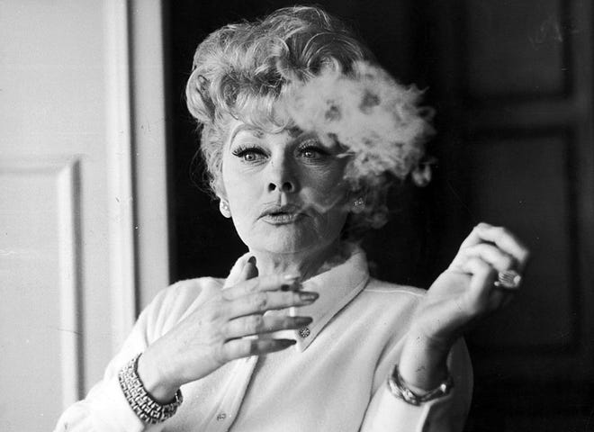American actress Lucille Ball (1911 - 1989) at the Hilton Hotel in London, February 20, 1968. (Keystone/Hulton Archive/Getty Images/TNS)