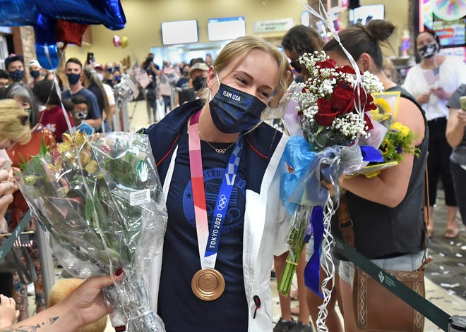 Krysta Palmer get a big welcome home on August 3, 2021 as she arrived in Reno from the 2020 Tokyo Olympics with the bronze medal.