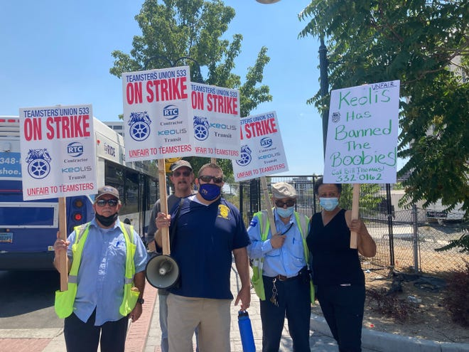 Members of the Teamsters Local 533 union go on strike on Aug. 3, 2021, as negotiations with RTC Washoe bus service contractor Keolis reach an impasse.