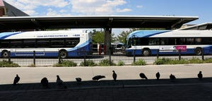 RTC buses are seen parked at the 4th Street Station in Reno on Aug. 3, 2021 during the first union strike.