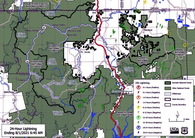 Numerous lightning-caused fires are burning in and around the Trinity Alps and Marble Mountain wilderness areas.
