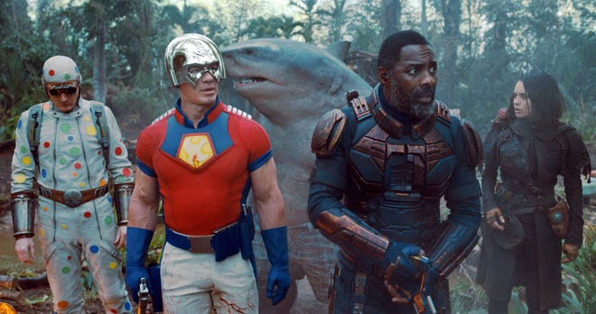 """This image released by Warner Bros. Pictures shows, from left, David Dastmalchian, John Cena, Idris Elba and Daniela Melchoir in a scene from """"The Suicide Squad."""""""