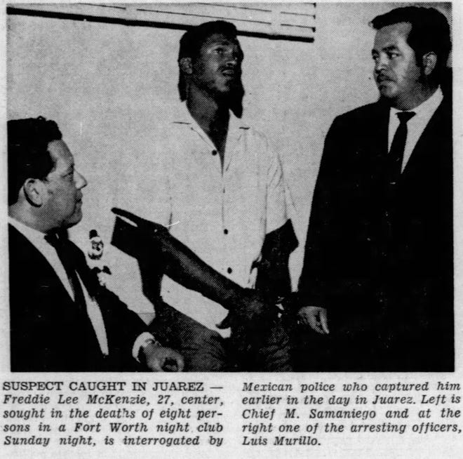 May 8, 1968 Freddie Lee McKenzie is interrogated by Mexican police who captured him in Juarez. Left is Chief M. Samaniego and at the right one of the arresting officers, Luis Murillo.