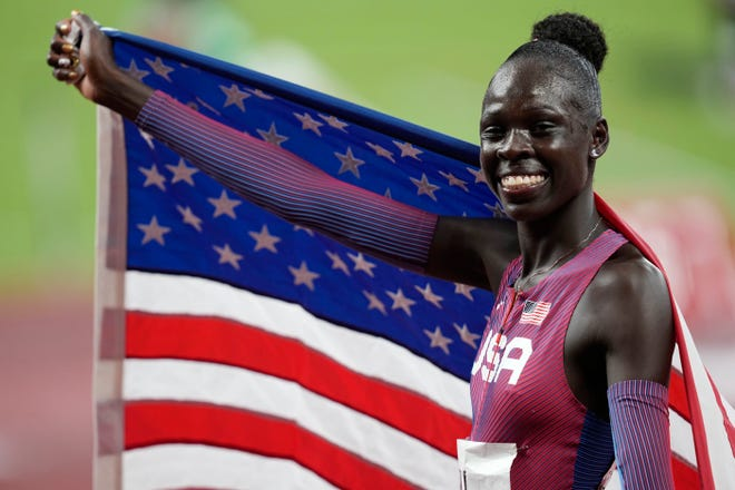 Gold medalist Athing Mu reacts after the women's 800m final.