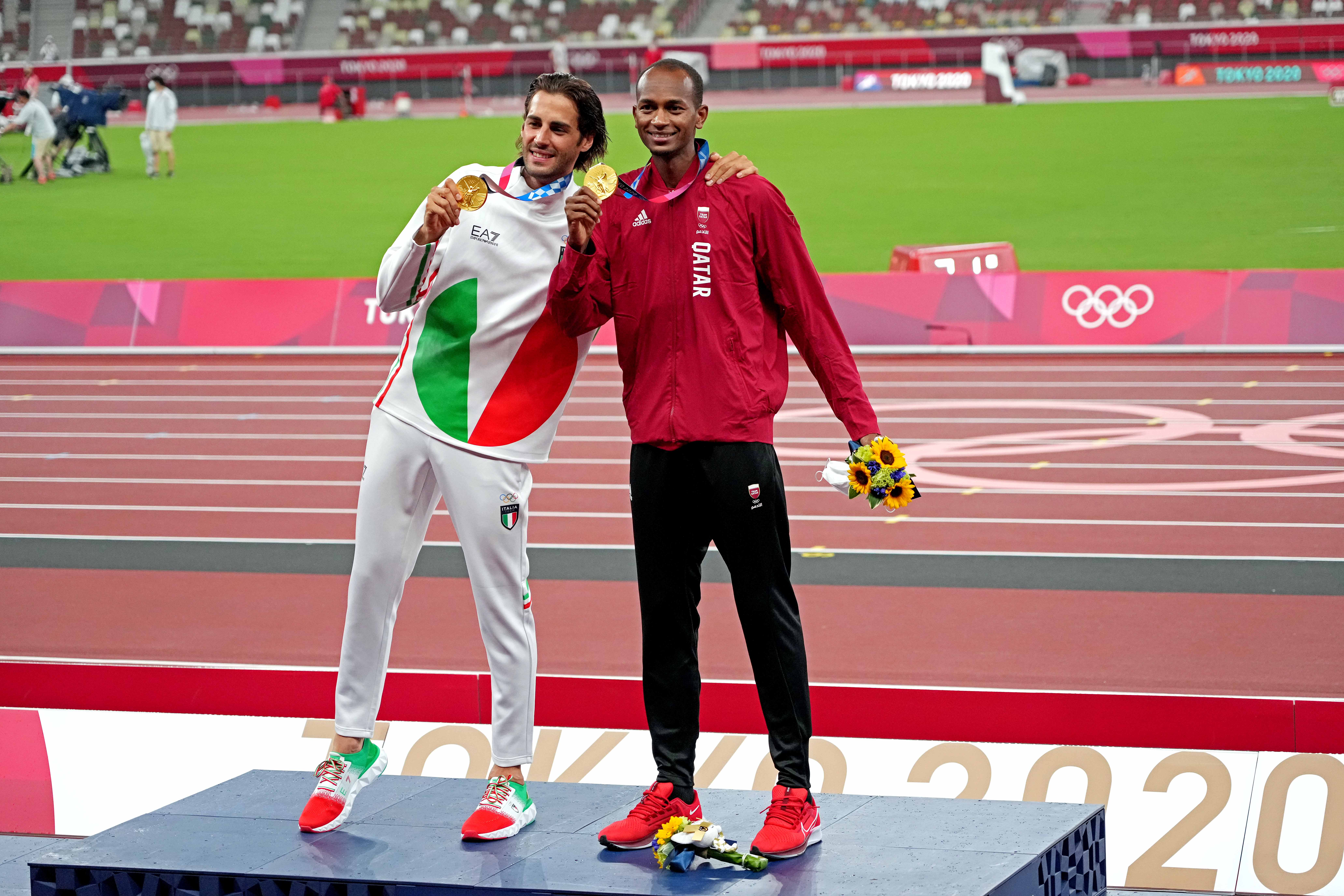 Gianmarco Tamberi (ITA) and Mutaz Essa Barshim (QAT) share the gold medal in the men's high jump at the Tokyo Olympics.