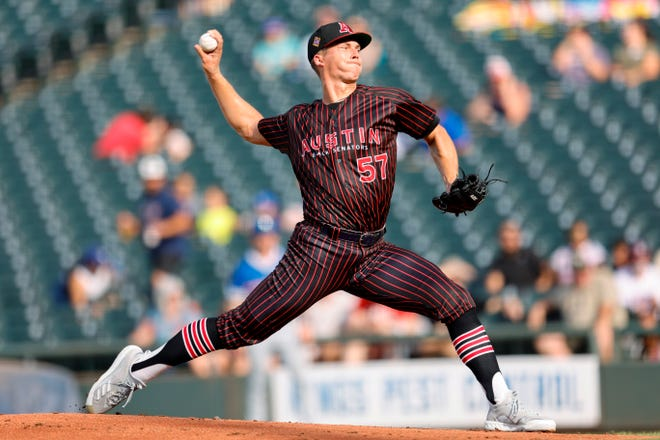 Round Rock pitcher Glenn Otto delivers to the plate during the team's game versus the Oklahoma City Dodgers on Saturday at Dell Diamond. The 25-year-old who grew up in the Houston area was acquired from the New York Yankees by the Texas Rangers in the team's trade of Joey Gallo.