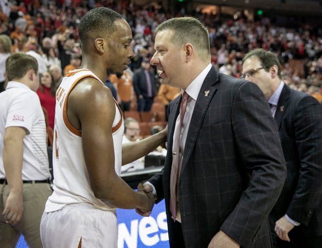 Texas Tech coach Chris Beard shakes hands with UT guard Matt Coleman III after Tech's win at the Erwin Center in February. Beard is now coaching Texas. Coleman won't be back but four Longhorns will: Andrew Jones, Courtney Ramey, Brock Cunningham and Jase Febres.