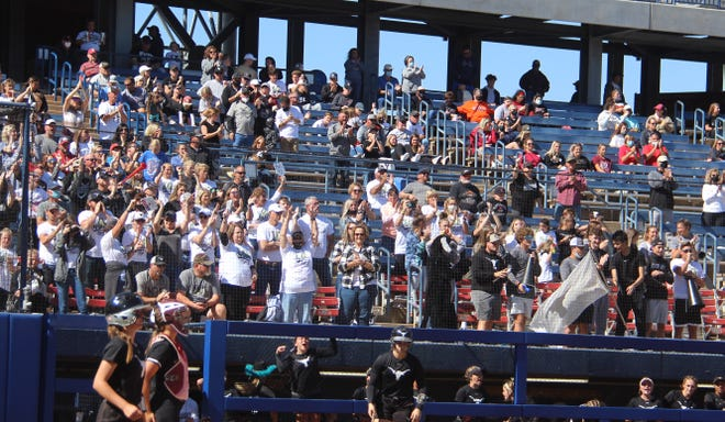 Lone Grove softball fans cheer on the Lady Horns last year during the Class 4A State Tournament in Oklahoma City. The 2021 season is filled with a number of exciting games for area fans to enjoy throughout the year.