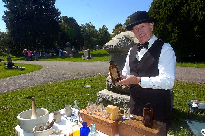 Ken Hammontree portrays Frederick J. Bockley during the Living History Cemetery Walk hosted by the Ashland County Historical Society Sunday, Sept. 30, 2018. STEVE STOKES/FOR TIMES-GAZETTE.COM