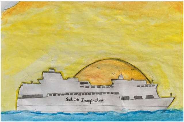 """Yasmin Ferreira captures the sun and the moon in her depiction of """"Sail into Imagination."""""""
