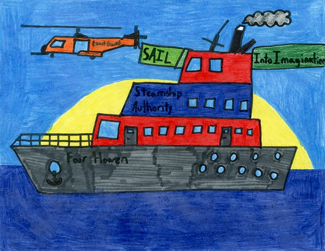 Brady Lipper's winning drawing depicts the SSA Fair Haven as well as a USCG helicopter.