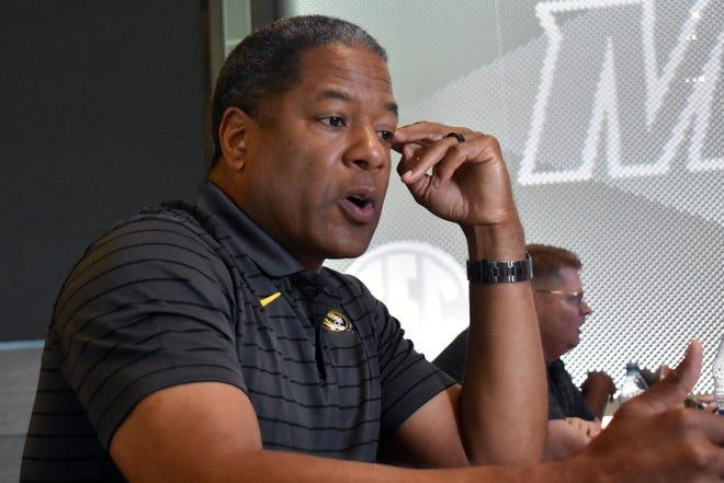 Missouri defensive coordinator Steve Wilks talks to the media inside Missouri's South End Zone Complex on Wednesday.