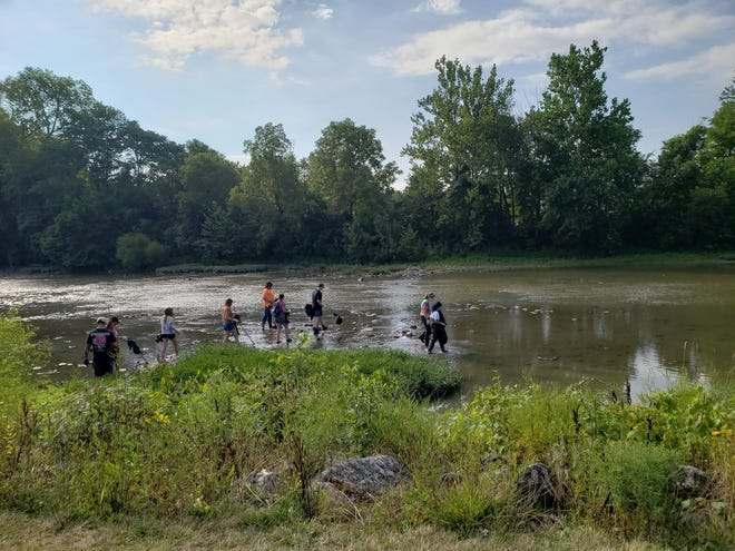 Volunteers wade in the Olentangy River during the 2020 cleanup of trash and junk from the waterway. This year's event will beAug. 21, starting at 225 Cherry St.