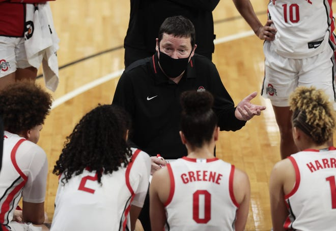 """Ohio State Buckeyes head coach Kevin McGuff hopes a new investigation results in """"true investment in women's basketball."""""""