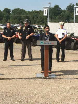 From left to right, Whitehall Deputy Chief Dan Kelli, Franklin County Chief Deputy Jim Gilbert, Columbus Assistant Police Chief LaShanna Potts and Columbus Deputy Chief Jennifer Knight at news conference about weekend enforcement efforts dealing with people recklessly operating ATVs and dirt bikes.