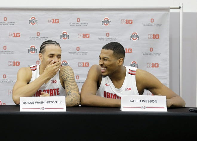Duane Washington, Jr. (left) and Kaleb Wesson (right) share a laugh during interviews as the Ohio State men's basketball team held media day in the Value City Arena practice gym in Columbus on Tuesday, September 24, 2019. [Barbara J. Perenic/Dispatch]