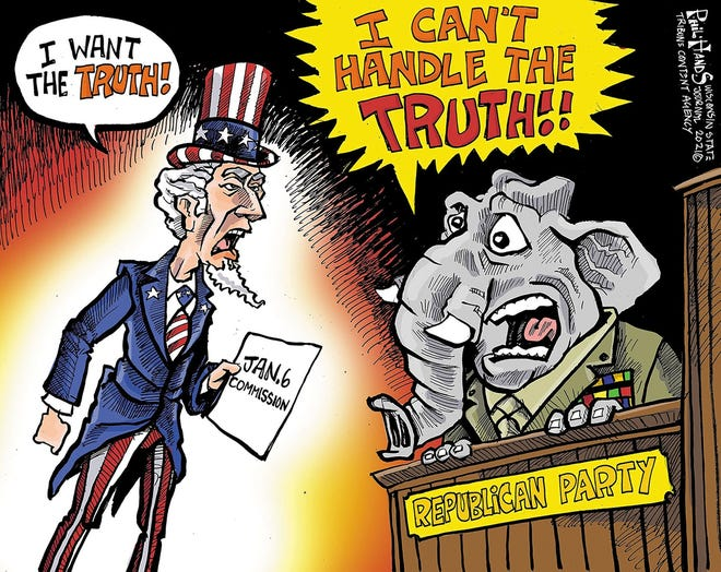 Phil Hands Cartoon:  REPUBLICANS; JAN. 6 COMMISSION