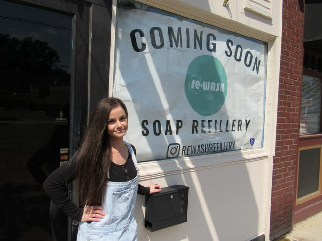 """Samantha White is founder of ReWash, a """"socially responsible"""" business that uses soaps and detergents that are free of parabens, sulfates and phthalates. Her business, which will open this month at 3133 N. High St. in Clintonville, also refills existing bottles, cutting down on plastics."""