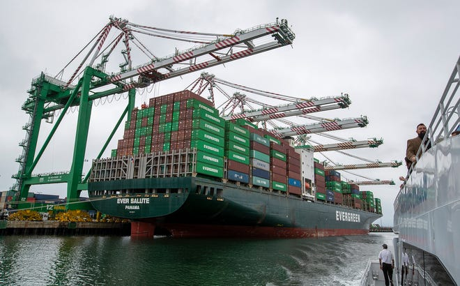 The Evergreen container ship Ever Salute is loaded with containers at the Port of Los Angeles Monday, June 4, 2019. Ocean freight costs have created a negative impact on wholesale trade. (Allen J. Schaben/Los Angeles Times/TNS)
