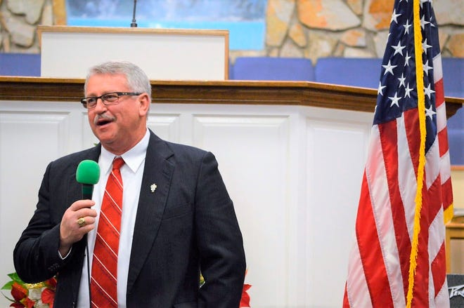In this January 2019 photo, newly-elected state Rep. Jerry Carter addresses the crowd at Reidsville Baptist Church in Reidsville, N.C. Carter, a longtime Baptist pastor who joined the legislature two years ago, died early Tuesday, Aug. 3, 2021, at Duke Hospital in Durham from complications after surgery late last week to treat a rare gastrointestinal disorder, according to Aaron Shelton, assistant pastor at Reidsville Baptist Church. He was 66. (Joe Dexter/News & Record via AP)