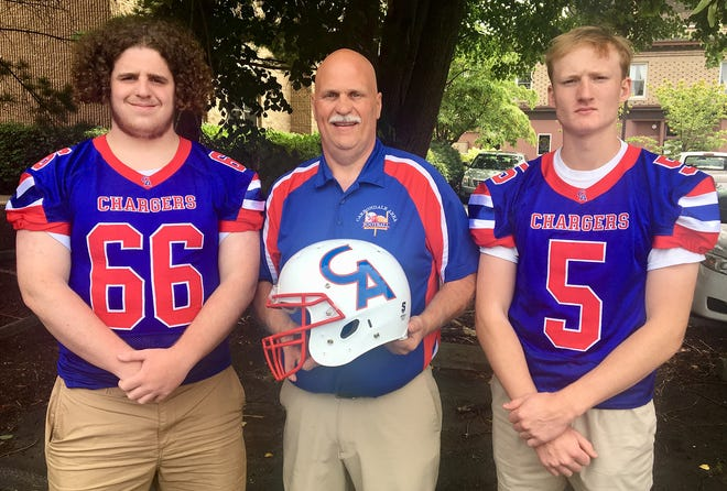 Carbondale Area was well-represented at the 11th Annual Lackawanna Football Conference Media Day. The event  was held Tuesday at the Regal Room in Olyphant. Pictured are rookie head coach Jeff Arthur flanked by returning starters Guy Mushow (5) and Josh Tierney (66).