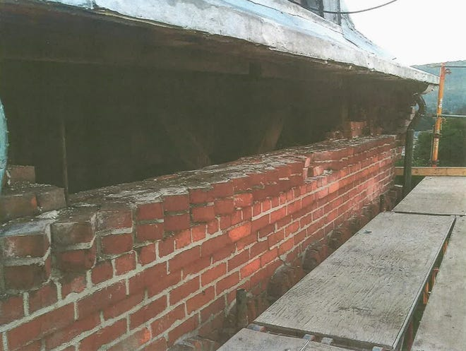 A look at the brickwork underway under the steeple at St. Ann's Church in Hornell.