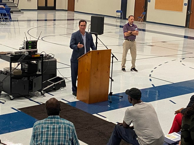 Ascension Parish Chief Administrative Officer John Diez and Planning and Facilities Director Ricky Compton represented parish government at the final stop of the Ascension Listens tour. The last event was at Lowery Middle School in Donaldsonville.
