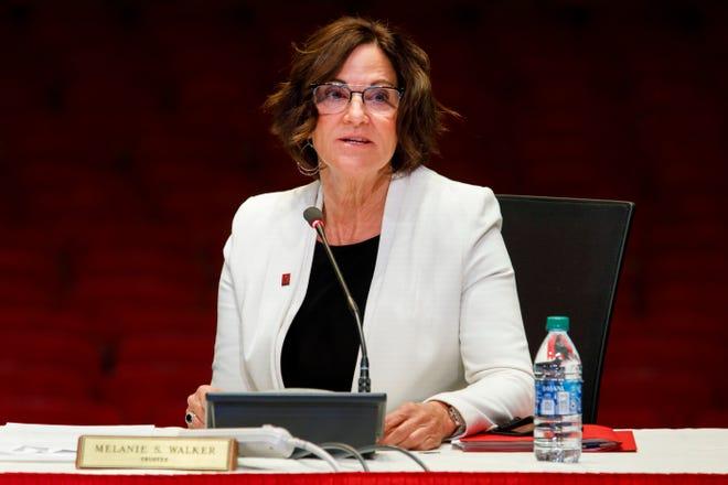 Trustee Melanie Walker speaks during an Indiana University Board of Trustees meeting at the IU Auditorium on April 16.