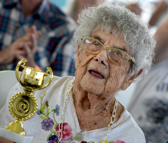 Marion Yoas, 105, of Newport was the oldest women attending the senior citizen program at the Monroe County Fair.
