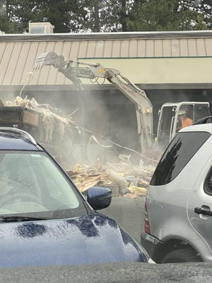 Work was being done to gut the inside of the former Round Table Pizza building in the Mount Shasta Shopping Center on July 28, 2021.