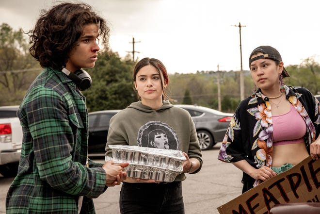 """From left, D'Pharaoh Woon-A-Tai stars as Bear, Devery Jacobs as Elora Danan Postoak and Paulina Alexis as Willie Jack in the new FX on Hulu series """"Reservation Dogs."""" Filmed in Oklahoma, the series premieres Aug. 9."""