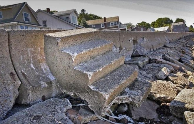 A crumbling sea wall at Fort Point Road in 2010.