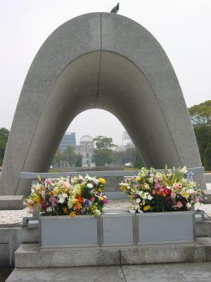 The Peace Memorial Park U-shaped structure marks the site near where the ashes of about 70,000 unidentified victims are buried.