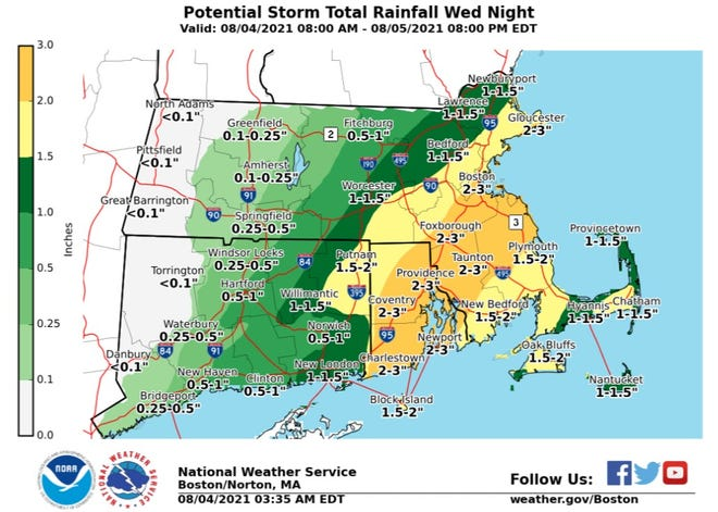 The National Weather Service says parts of Rhode Island could get up to 3 inches of rain Wednesday into Thursday.