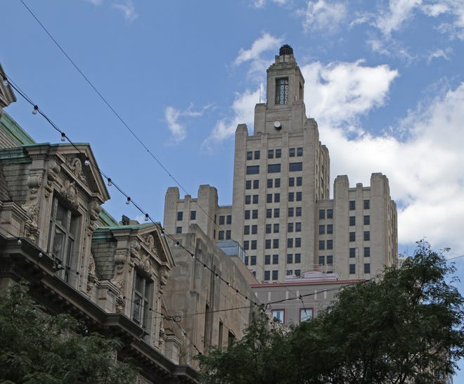 """The Providence skyline has long been defined by the Industrial Trust Bank Building, which — because of its slight resemblance to Los Angeles City Hall, the Daily Planet building in the 1950s TV series """"Adventures of Superman"""" — came to be known as the """"Superman Building."""""""