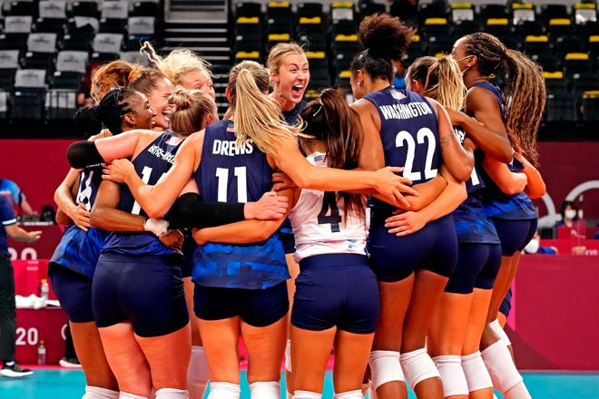 The U.S. women's volleyball team celebrates beating the Dominican Republic Wednesday, Aug. 4, 2021 to advance to the 2020 Olympic semifinals