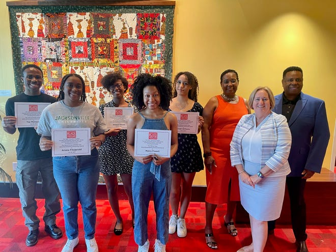 The 2021 WBTT scholarship winners include, from left,Tay Marquise, Ariana Fitzgerald, Amaya Glover, Maicy Powell and Aleah Williams with WBTT board chair Doris Johnson, executive director Julie Leach and artistic director Nate Jacobs.