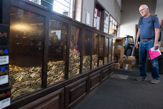 """Richard Oakley, 81 from Carbondale, said he was worried about ammo shortage last year during the pandemic while browsing the bulk selection of bullets at The Gun Garage, 2120 N.E. Meriden Rd., Wednesday afternoon. """"I feel a lot better now about availabilty,"""" Oakley said."""